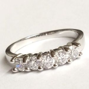 Silver Anniversary Ring Stackable Size 9 10 CZ